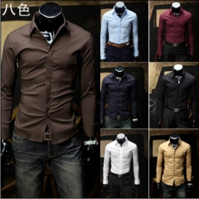 Free shipping Mens apparel Long-sleeve Slim  Casual Shirt Cover placket  designshirts 8 colors M L XL