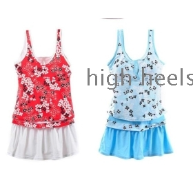 2012 new hot spring bathing suit swimsuit small chest favourite fission skirt type swimsuit three-piece conservative