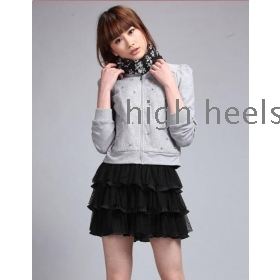 Women's new spring fashion nail bead LiLing long sleeve hubble-bubble sleeve jacket coat