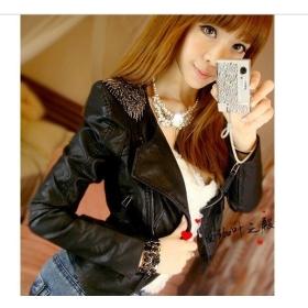 2013 new style women fashion Tassel Epaulette short leather jacket Free shipping