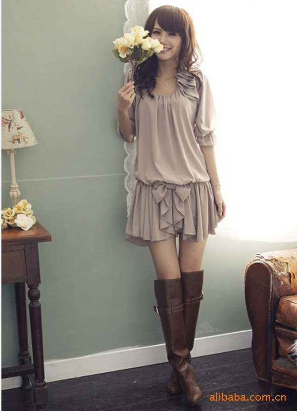 2012 Hot Sale Women Korean Style Spring Summer Fashion Chiffon Flounce Dress Women Free Shipping