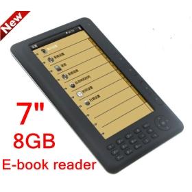 "[Wholesale] 5pcs/Lot EMS Free shipping 7"" TFT E-book 8GB 480*800 720P PDF MP4 RMVB Ebook Reader"