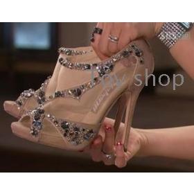 Nieuwe vrouwelijke schoenen prinses kristal schoen mondvissen volgen sandaal hoge sandalen