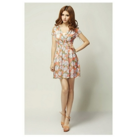2012 dress Fashion rural style V neck high waist lady dress