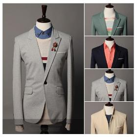 2013 basic one button casual suit jacket male