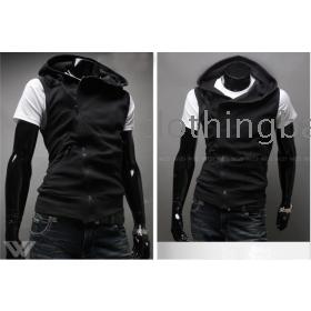 New Men's fashion sleeveless vest hoody free shipping
