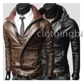 Wholesale - New Fashion Men's Slim turndown washing PU Leather Leather motorcycle Jackets Coat Outerwear