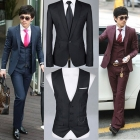 Mens Casual Slim fit Skinny three-piece business suit(coat+vest+pant) free shipping