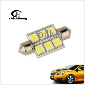 Free shipping 12V 36mm 6-LED Festoon Dome Light Automobile Bulbs Lamp tail lights/indicator/reading light White