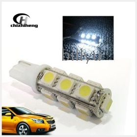 Free shipping 1pair 12V 168/194/W5W/T10 13SMD 5050 LED with 3chips Auto Bulbs/Car Lights/Car Lamps white