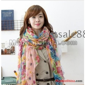 Free Shipping the newest style Noble luxury pastoral Korean floral super female cotton linen Scarf Shawl Scarf