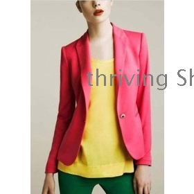 free   shipping Women's Europe wind candy colors in the small suit collar long money cultivate one's morality suit jacket102