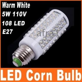 High quality E27 5W 110V 108 LED Corn Light Bulb Lamp Warm White Free shipping