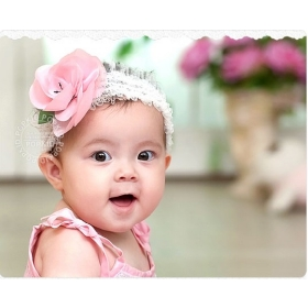Free Shipping 24pcs /lot Design Gril Flower Crochet Headband / Ribbon hair bow, Boutique hair accessories, Hot Wholesale