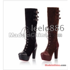 Free Shipping Wholesale New fashion sweety  female pop star lacing belt buckle platform  knee boots EU34-43