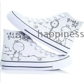 free shipping Graffiti hand-painted female loon high help the female canvas shoes