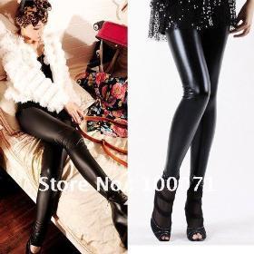 Módní styl ženy Dámské Sexy mokrý vzhled lesklé umělé kůže Legíny kalhoty  Black   9223  50099ce85c