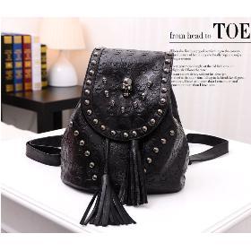 Sales promotion! 2014 fashion rivet tassel bag skull backpack cross-body female bags Hot! BK60707