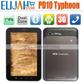 """Freelander PD10 Typhoon 3G GPS Tablet pc MTK 6577 Dual Core 7"""" IPS capacitive Screen Android 4.0 Dual Camera Bluetooth FM SIM"""