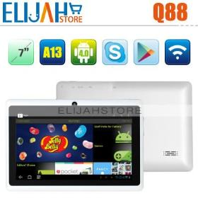 Beliebte Smart- Q88 7 -Zoll-Tablet -PC Android 4.0.3 OS 5 Punkt kapazitiver Touch Allwinner A13 512MB/4GB Kamera