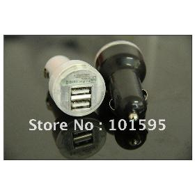 Free shipping High-Quality New Dual 2 Port USB Car Charger 12v DC for iPad 4G 4S 2A EVO 4G
