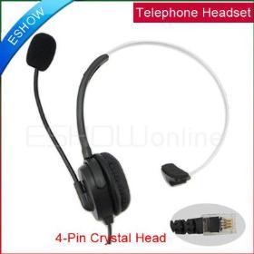 10pcs Black 4-pin RJ11 crystal head super Telephone Monaural Headset C085A MIC PHONE for phone center Earphone