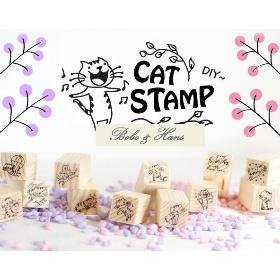 New 12 pcs/set New cute Cat design wooden stamp / Decorative DIY funny work/Wholesale