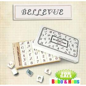 New Bellevue style number and letter DIY rubber stamp set / gift box / 36 pcs/set / Wholesale