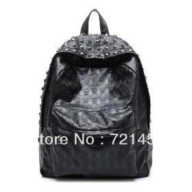 Women Skull Leather Backpack Packsack Handbag Shoulder School/Travel Bag Satchel/Free Shipping