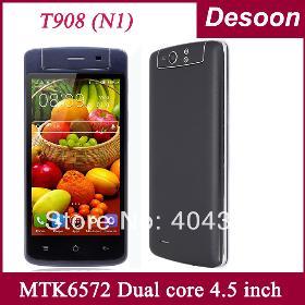 Téléphones Livraison gratuite ! T908 Cell 512 Mo de RAM 4 Go ROM MTK6572 Dual core 4.5 pouces IPS dual sim téléphones 3G GPS Android / Amy