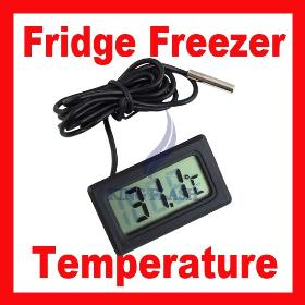 Free shipping LCD Fridge Freezer Temperature Digital Thermometer, -50 ~ + 70 degree Celsius 195