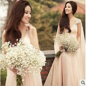Tender pink sexy deep V diamond buckle bride wedding dinner banquet performances wedding dress