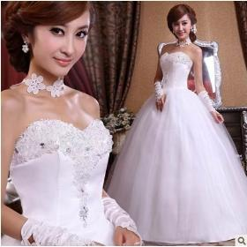 Free shipping !2014 fashion women dress Sweet lace Lovely High-quality Sexy dress rhinestone flower bride wedding dress