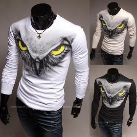 Free delivery of 2013 new styles Men's The eagle printing long sleeve crew neck T-shirt slim