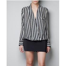 S M L Women V Neck Long Sleeve Chiffon Stripes Lapel Tops Blouse T-Shirt Shirt