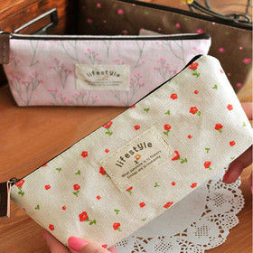 Real Free Shipping 4 Styles 1pc Ladies& Girls Flower Foral Pattern Pencil/Pen Case Cosmetic Makeup Bag