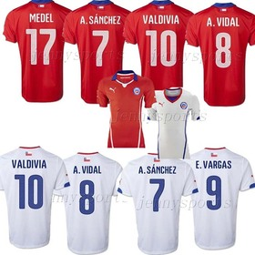 new 2014 CHILE home /away soccer jersey,top thailand quality chile home/away football uniforms,free shiipping s,m,l,xl