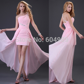 Grace Karin Sexy Pink Front short long Back Prom Dress Party Evening Gown Elegant Homecoming High low Formal Dress 2014 3828