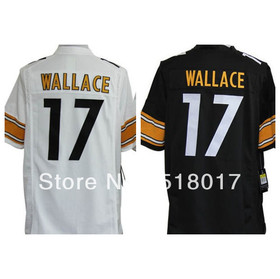 Free Shipping American football Pittsburgh#17 Mike Wallace White Black Team Color Game Jersey-Men Size S-XXXL,can mix order