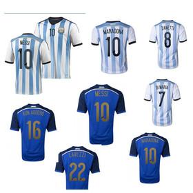 Top Thai quality Argentina Jersey 2014 World Cup MESSI AGUERO ZANETTI HIGUAIN MARADONA Argentina World Cup 2014 Soccer jerseys