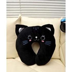 1 Piece Cute Cartoon Black Cat Pattern Design Travel Car Home Pillow, U-Shape Neck Pillow / Rest Pillow X1160