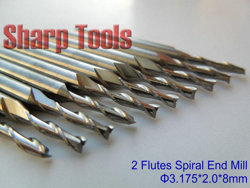 "10pcs 3.175mm 1//8/"" 2 Flute Carbite spiral End Mill Cutter CNC Bit 28mm CEL"