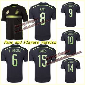 2014 world cup Best Thai Quality Spain away soccer jerseys black Player and fans version football Jersey shirts ,Free shipping.