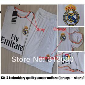 13-14 real madrid white soccer sets(jerseys + shorts) with Embroidery logo, RONALDO soccer uniforms +can custom names&numbers