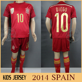 2014 World Cup Kids style Thailand quality Spain home soccer jersey boys Football tracksuit camisetas futbol jerseys