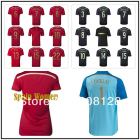 Spain 6 A. INIESTA 14 ALONSO 15 Ramos 8 XAVI 2014 world cup Red Black soccer jersey Espana Thailand Quality Diego costa 19 Shirt