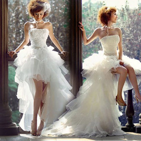 New Arrival Women's Fashinable Short Front with Trailing Wedding Dress