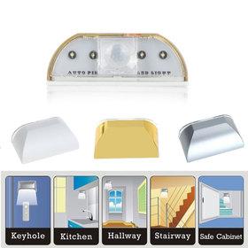 Auto PIR Door Keyhole Motion Sensor Detector LED Light Lamp Silver For 1*AA battery 4Leds Led Sensor Motion Lamp NightLight