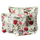 2014 New Fashion 3Pcs/Set Women Makeup Cosmetic Toiletry Pen Zipper Travel Organizer Flower Bag
