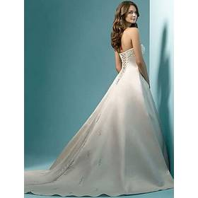 Vestidos de noiva ! Cheap Price ! 2015 Free Shipping Pearl A line Strapless Train White / Ivory Wedding Dresses OW 6642 In Stock